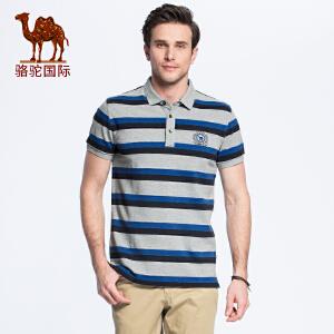 骆驼男装 夏季时尚绣标翻领条纹商务休闲纯棉短袖T恤衫男青年