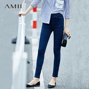 Amii[极简主义]2017春装新款修身松紧腰百搭显瘦铅笔牛仔九分裤女