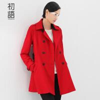 初语冬季新款  翻领撞色拼接可拆腰带修身裙摆型羊毛呢风衣女8530633018