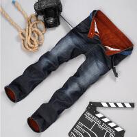 加绒加厚牛仔裤韩版直筒宽松秋冬牛仔长裤水洗时尚休闲保暖劳动布长裤