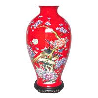 红玉红瓷 开业礼品送客户 梅瓶喜上眉梢摆饰 湘瓷手工制作花瓶 客厅大堂落地红色大花瓶摆件