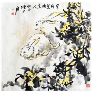 陈永锵《玉兔呈祥》广东省著名画家
