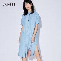Amii[极简主义]夏装2017新款女宽松丹宁牛仔衬衫领连衣裙11732989