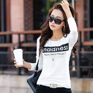 2017春装新款女装宽松体恤潮韩版棉卫衣长袖字母打底衫上衣WK0028