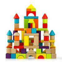 木多乐 100粒木制榉木积木儿童玩具1-2-3-5周岁男女宝宝益智玩具