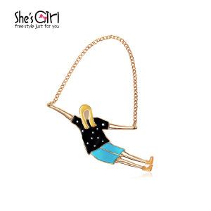 Sh'sGirl茜子 跳绳的女孩手绘卡通胸针  可爱滴油胸扣