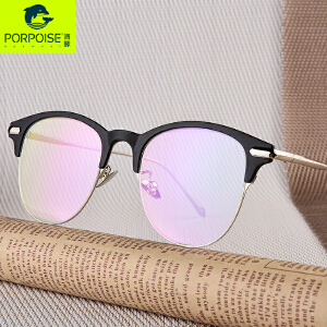 海豚新款韩版眼镜框男半框平光镜近视眼镜架女大框眼镜复古眼睛潮