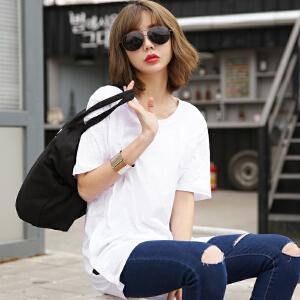 2017春夏新纯色双侧边纽扣前胸口袋短袖T恤韩版女装BB17008