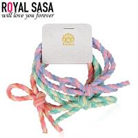 皇家莎莎发饰扎头发橡皮筋发绳3件套装韩国版简约个性丸子头发圈