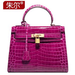 朱尔纯色气质女包2017新款鳄鱼纹手提包欧美时尚女士包包