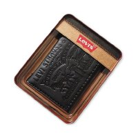 Levi's /李维斯 男士钱包铁盒装特色三折礼盒装钱包 棕黑色31LV1179