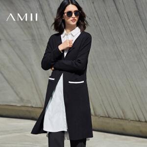 Amii[极简主义]2017春新品直筒条纹口袋腰带开襟毛针织衫11781376