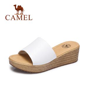 Camel/骆驼女鞋 2017夏季新品休闲简约露趾凉鞋舒适坡跟女凉拖鞋