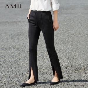 Amii[极简主义]2017春新黑色修身微喇叭开叉西装休闲长裤11780106