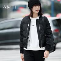 【AMII超级大牌日】[极简主义]2016冬大码休闲运动拉链短款棒球领羽绒服11682178