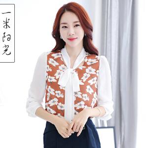 一米阳光2017春装韩版V领衬衫女印花宽松休闲雪纺衫