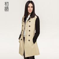 初语冬季新品假两件撞色风衣女中长款 显瘦时尚文艺范长外套女8530622004