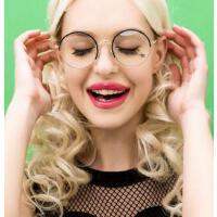 复古圆形眼镜框架潮流平光镜女款半框配光学近视眼睛男款金属眼镜     支持礼品卡