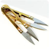 家居金色缝衣纱线小剪刀 不锈钢U型剪 十字绣线头剪工具