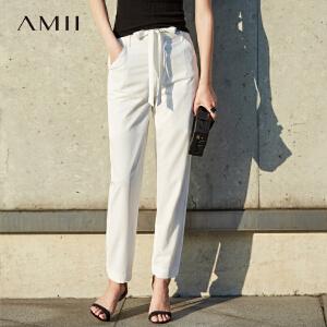Amii[极简主义] 2017春简约纯色配腰带绑带直筒休闲长裤11770178