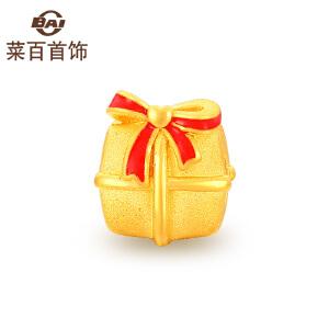 菜百首饰  黄金转运珠  足金红色烤彩蝴蝶结礼物转运珠   烤彩转运珠 定价 送皮绳