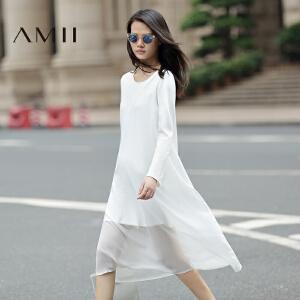 【AMII超级大牌日】[极简主义]2017年春新款纯色透视拼接雪纺中长款连衣裙11692215