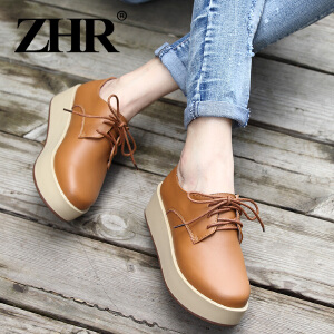 ZHR2017春季新款真皮松糕鞋休闲女鞋平底平跟单鞋女圆头女鞋H21