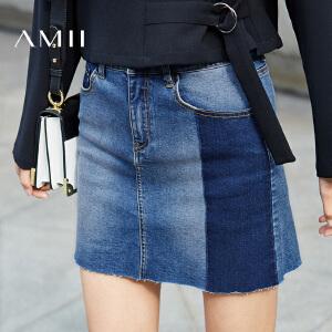Amii[极简主义]2017春新款百搭水洗牛仔A字半身裙短裙女11731111