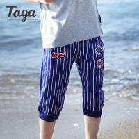 【满200-100】taga童装 男童针织六分裤男童短裤中大儿童运动裤时尚百搭2017新