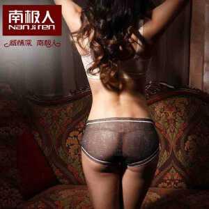 南极人3条装性感网纱透明女士内裤 牛仔色诱惑中腰女式三角内裤