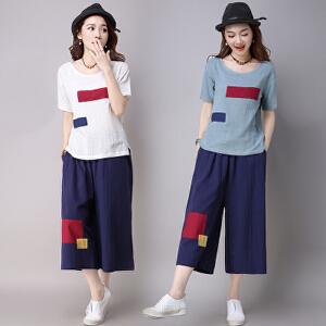 【当当年中庆】棉短袖T恤+七分阔腿裤文艺时尚贴布两件套套装