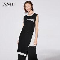 Amii[极简主义]秋装2017新圆领无袖撞色不对称针织连衣裙11744228