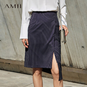 Amii[极简主义]2017春新知性竖条纹直筒不规则裙摆半身裙11770252
