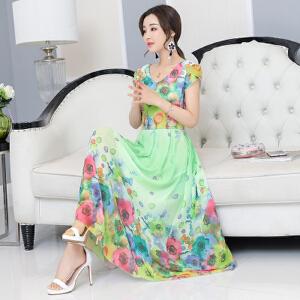 【当当年中庆】2017夏季新款2017短袖显瘦连衣裙长款印花雪纺淑女裙修身潮