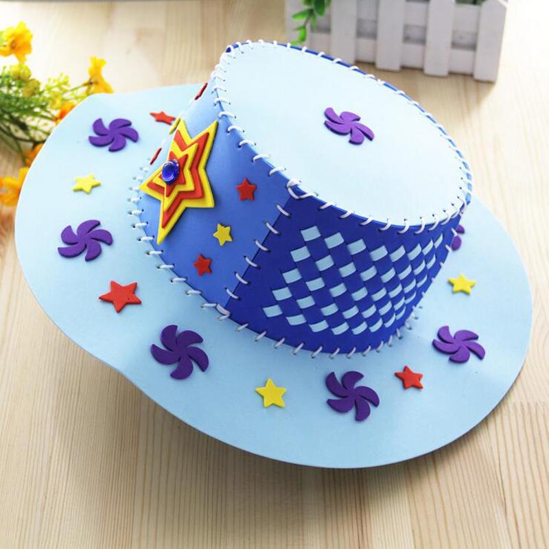 孩派 儿童diy手工制作 eva编织帽子 幼儿园儿童手工帽子