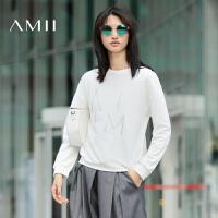 【AMII超级大牌日】[极简主义]2016秋装新款圆领百搭纯棉印花套头卫衣女11622619
