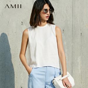 【预售】Amii2017夏新款清爽轻薄百搭小立领后摆开叉无袖背心女