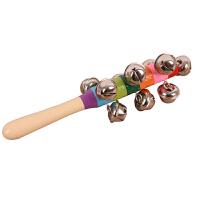 宝宝摇铃彩虹手摇铃铛七彩串铃木质棒婴儿玩具幼儿园宝宝益智玩具乐器
