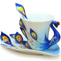 瓷元素 套装欧式茶杯 陶瓷 情侣 孔雀咖啡杯子 欧式风格情侣孔雀咖啡 陶瓷套装茶杯