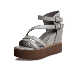 莎诗特2017新款凉鞋女夏休闲坡跟厚底防水台露趾高跟鞋松糕罗马鞋86070