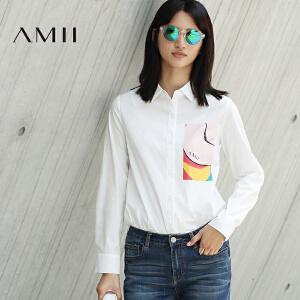 【AMII超级大牌日】[极简主义]2017年春新女大码休闲合体艺术印花棉氨衬衫11692907