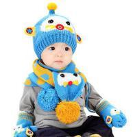 男女童帽子围巾2件套 宝宝韩版帽 围巾2件套 套头帽6-12个月1-2岁男女儿童帽婴幼儿毛线帽
