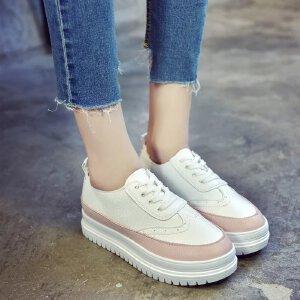 2017新款韩版布洛克系带单鞋女学生百搭厚底休闲鞋运动鞋松糕鞋小白鞋女ZR-A805