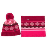 秋冬帽子围巾两件套格子毛线帽加绒围脖男童女童儿童年龄2-8岁