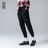 初语夏季新款 橡筋系带小脚净色休闲九分长裤