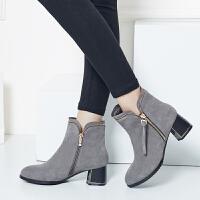 娜箐箐冬新款尖头磨砂粗跟流苏优雅女靴高跟真皮女式短靴女鞋