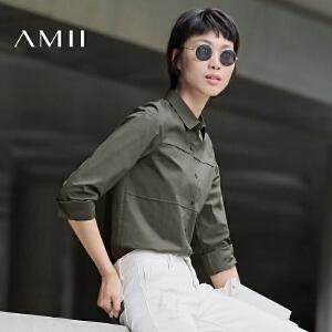 【AMII超级大牌日】[极简主义]2017年春通勤百搭翻领纯色大码长袖白衬衫女11642444