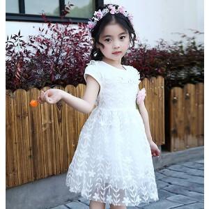 【当当年中庆】夏季童装中小童女童花边树叶连衣裙子兔子公仔纱裙
