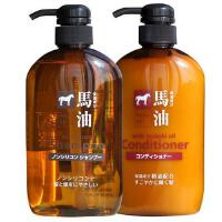 【保税仓出货】日本熊野油脂无硅弱酸性马油套装600ml洗发水+600ml护发素