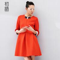 初语冬装新款 修身显瘦连衣裙 女七分袖中长款气质裙子女8542422805